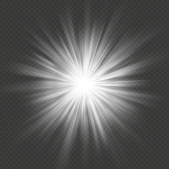 Witte gloed ster burst flare explosie transparant lichteffect. Premium Vector
