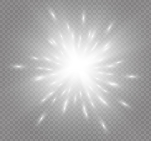 Witte gloeiende licht burst explosie op transparante achtergrond. illustratie lichteffect decoratie met straal. heldere ster. doorschijnende glanszon, heldere gloed. centrum levendige flits. ster en zon