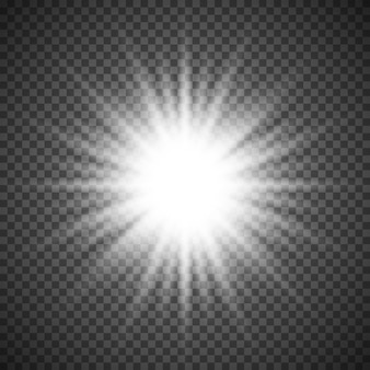 Witte gloeiende lichte flare burst-explosie op transparante achtergrond