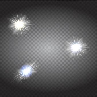 Witte gloeiende lichten barsten explosie met transparant.