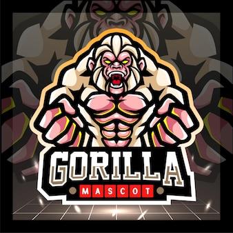 Witte gorilla mascotte esport logo ontwerp