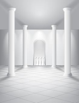 Witte hal met kolommen