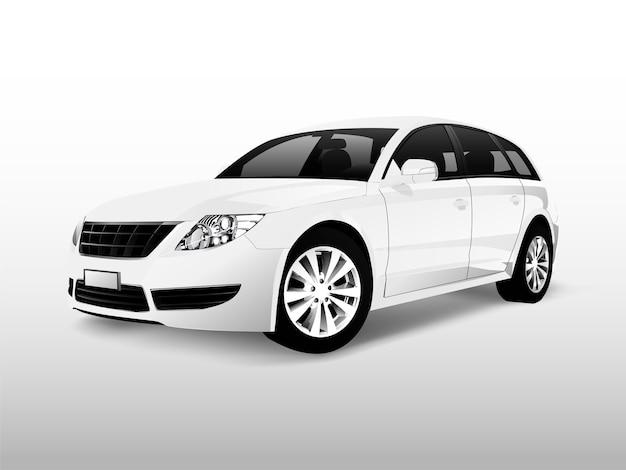 Witte hatchbackauto die op witte vector wordt geïsoleerd