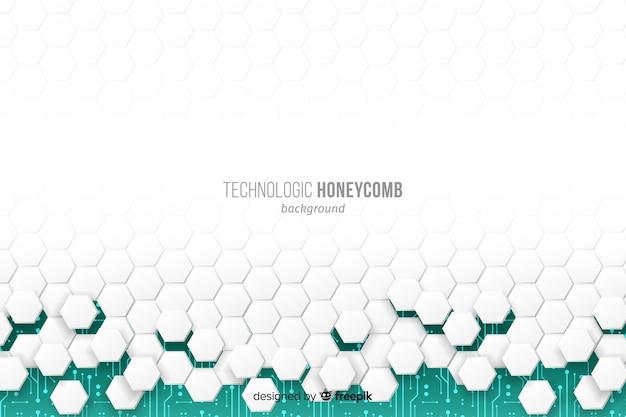 Witte honingraat die en groene achtergrond instort openbaart