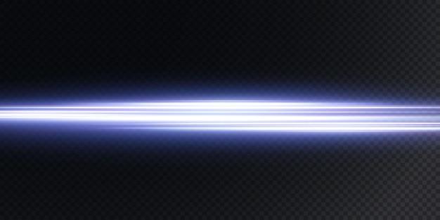 Witte horizontale lens flakkert op donkerblauw