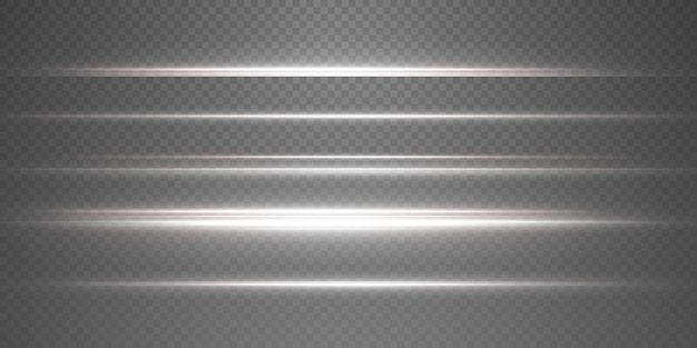 Witte horizontale lens flares pack. laserstralen, horizontale lichtstralen. mooie lichtflitsen.