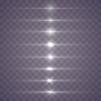 Witte horizontale lensfakkels. gloeiend licht explodeert. lichtgevende sprankelende lijnen.