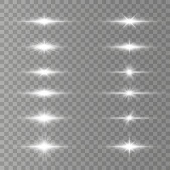 Witte horizontale lensfakkels, laserstralen, lichtflitsen. Premium Vector