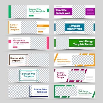 Witte horizontale webbannersjablonen met kleurkaders en rechthoekige elementen en ruimte voor foto's. ontwerp voor reclame, standaardformaat. instellen