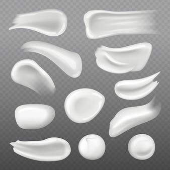 Witte huidcrème. verse cosmetische gel voor de realistische sjabloon voor huidverzorging van de vrouw