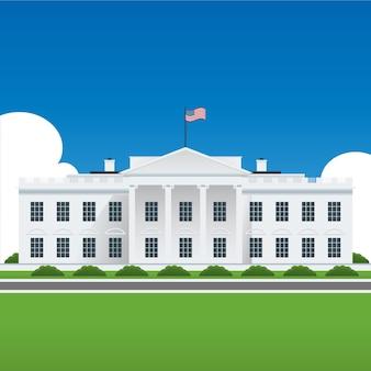 Witte huis bouwen illustratie