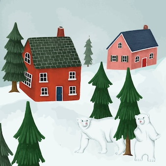 Witte ijsberen in een dorp