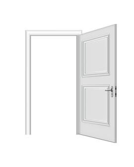 Witte ingang geopend. realistische deur met frame geïsoleerd op een witte achtergrond. schone witte deur ontwerpsjabloon. decoratief huiselement Premium Vector