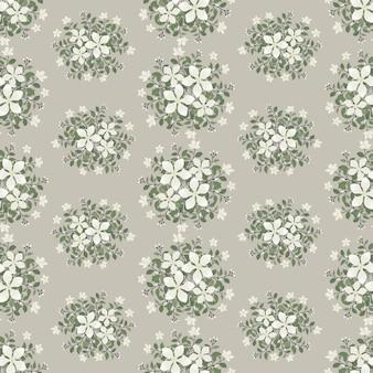 Witte jasmijn bloemen krans klimop stijl met tak en bladeren, naadloos patroon
