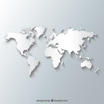 Witte kaart van de wereld
