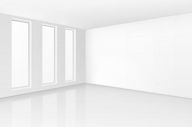Witte kamer interieur in minimalistische stijl met lege muur achtergrond