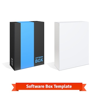 Witte karton software box Gratis Vector