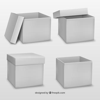 Witte kartonnen doos omhoog bespotten