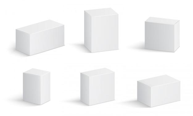 Witte kartonnen dozen. leeg medicijnpakket in verschillende maten. medische product vierkante doos 3d