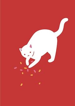 Witte kat speelt met confetti. schattig karakter op rode achtergrond, wenskaart ontwerp, vector iilustration.