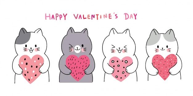 Witte katten van beeldverhaal de leuke valentijnskaarten dag en vele hartenvector.