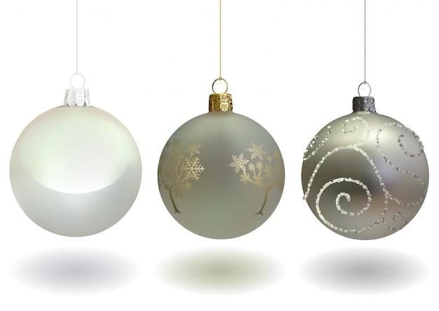 Witte kerstballen set