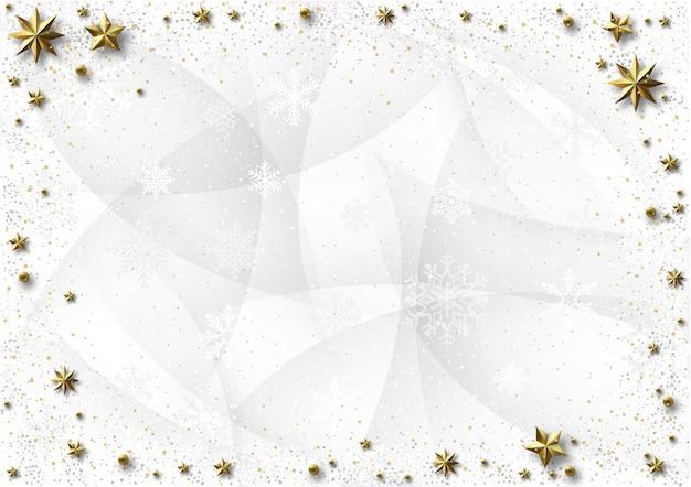 Witte kerstmisachtergrond met gouden sterren