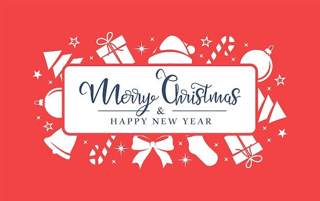 Witte kerstsymbolen zijn willekeurig gerangschikt op een rode achtergrond.