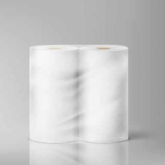 Witte keukenrollen in een pakket op een grijze achtergrond. illustratie