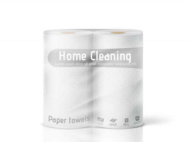 Witte keukenrollen in een pakket op een witte achtergrond. illustratie