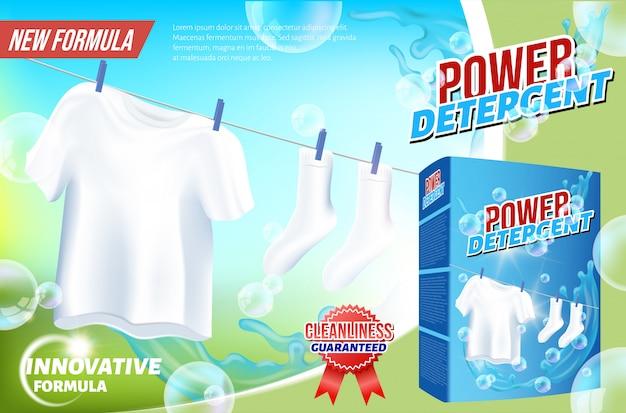 Witte kleren hangen aan touw power detergent