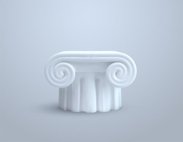 Witte kolomzuil. 3d-afbeelding. oud architectonisch element. oude marmeren podium of voetstuk. museum sculptuur.