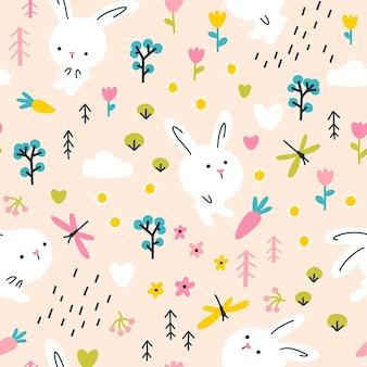 Witte konijnen in zomerbloemen met libellen naadloze patroon. kinderdagverblijf illustratie op beige achtergrond. Premium Vector