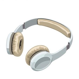 Witte koptelefoon op wit