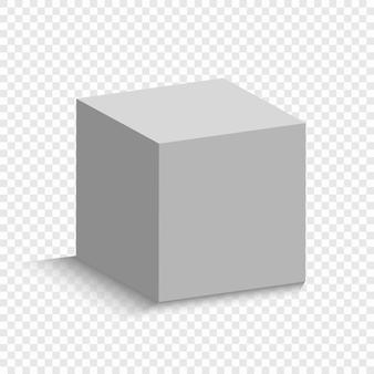 Witte kubus met een perspectief. 3d doosmodel met een schaduw