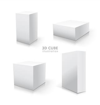 Witte kubus set. stock 3d illustratie.