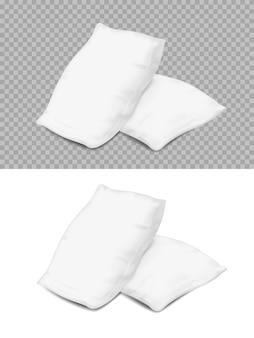 Witte kussens, realistische kussens 3d rechthoekige of vierkante hoekweergave. Premium Vector