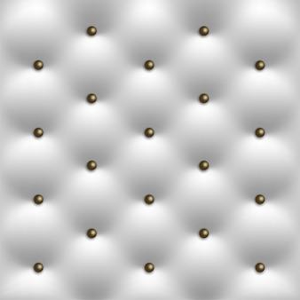 Witte lederen vintage luxe textuur met knoppen achtergrond
