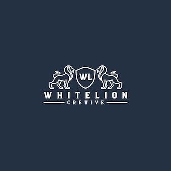 Witte leeuw lijntekeningen logo