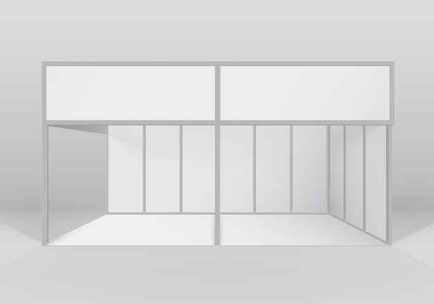 Witte lege indoor beursstand standaardstandaard