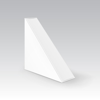 Witte lege kartonnen driehoek take away box verpakking voor sandwich