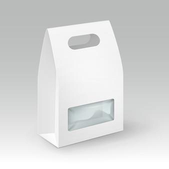 Witte lege kartonnen rechthoek meeneem handvat lunchdoos verpakking voor sandwich, eten, cadeau, andere producten met plastic venster close-up geïsoleerd op witte achtergrond