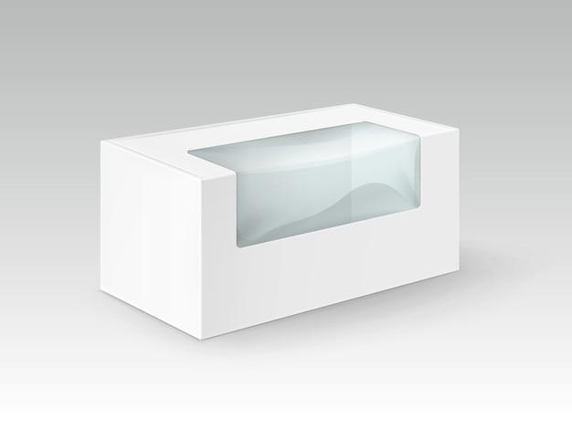 Witte lege kartonnen rechthoek meeneemverpakking voor sandwich, eten, cadeau, andere producten met kunststof venster mock up close-up geïsoleerd