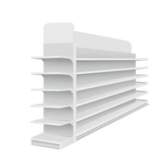Witte lege lange showcase met planken voor producten op witte achtergrond. rek voor supermarkten, winkelcentra. vector illustratie