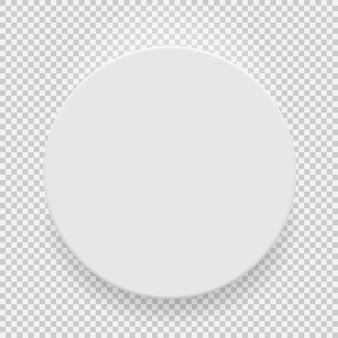Witte lege model sjabloon bovenaanzicht met schaduw geïsoleerd op transparante achtergrond.