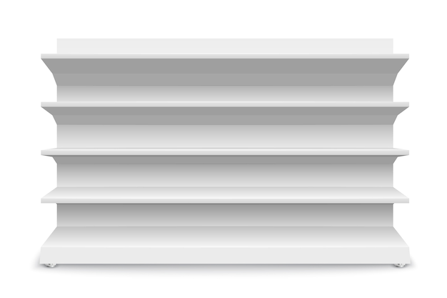 Witte lege opslagplanken geïsoleerd