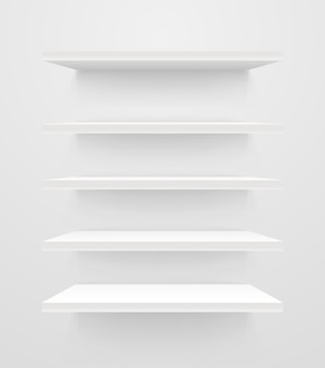 Witte lege planken op witte muur. vectormodel
