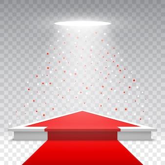 Witte lege podium met rode loper en confetti op transparante achtergrond. sokkel met spotlight. illustratie.