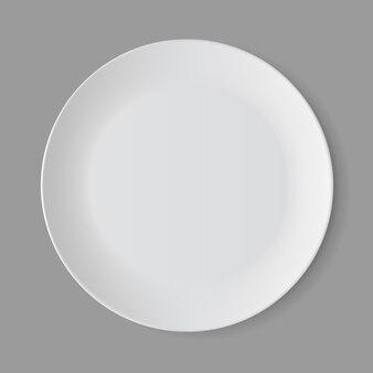 Witte lege ronde plaat geïsoleerd, bovenaanzicht