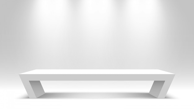 Witte lege sokkel. stand. bureau. podium. illustratie.
